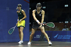 Kasey Brown of Australia and Joelle King of New Zealand during the final of the mixed doubles squash competition held at the Siri Fort Complex in New Delhi as part of the XIX Commonwealth Games, India on the 13 October 2010..Photo by:  Ron Gaunt/photosport.co.nz