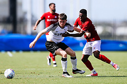 Niclas Eliasson of Bristol City challenges during the 2nd leg of the match after the previous day's game was abandoned at half time due to extreme weather - Rogan/JMP - 14/07/2019 - IMG Academy, Bradenton - Florida, USA - Bristol City v Derby County - Pre-Season Tour Day 3.
