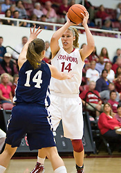 November 1, 2009; Stanford, CA, USA;  Stanford Cardinal forward Kayla Pedersen (14) is guarded by Vanguard Lions forward Rachel Copeland (14) during the first half at Maples Pavilion.