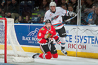 KELOWNA, CANADA - JANUARY 29: Lucas Johansen #7 of Kelowna Rockets checks Cody Glass #8 of Portland Winterhawks on January 29, 2016 at Prospera Place in Kelowna, British Columbia, Canada.  (Photo by Marissa Baecker/Shoot the Breeze)  *** Local Caption *** Lucas Johansen; Cody Glass;