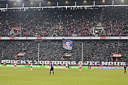 "07.02.2015, RheinEnergieStadion, Köln, GER, 1. FBL, 1. FC Köln vs SC Paderborn, 20. Runde, im Bild Koelner Fans mit einer Choreographie ""Poucky avec nous"" // during the German Bundesliga 20th round match between 1. FC Cologne and SC Paderborn at the RheinEnergieStadion in Köln, Germany on 2015/02/07. EXPA Pictures © 2015, PhotoCredit: EXPA/ Eibner-Pressefoto/ Schüler<br /> <br /> *****ATTENTION - OUT of GER*****"