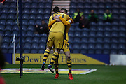 Fulhams Ross McCormack celebrates during the Sky Bet Championship match between Preston North End and Fulham at Deepdale, Preston, England on 5 April 2016. Photo by Pete Burns.