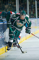 KELOWNA, CANADA - DECEMBER 30: Ryan Harrison #22 of the Everett Silvertips skates on the ice with the puck at the Kelowna Rockets on December 30, 2012 at Prospera Place in Kelowna, British Columbia, Canada (Photo by Marissa Baecker/Shoot the Breeze) *** Local Caption ***