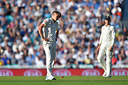 Sam Curran of England has a wry smile as Peter Siddle of Australia survives an lbw appeal during the 5th International Test Match 2019 match between England and Australia at the Oval, London, United Kingdom on 13 September 2019.