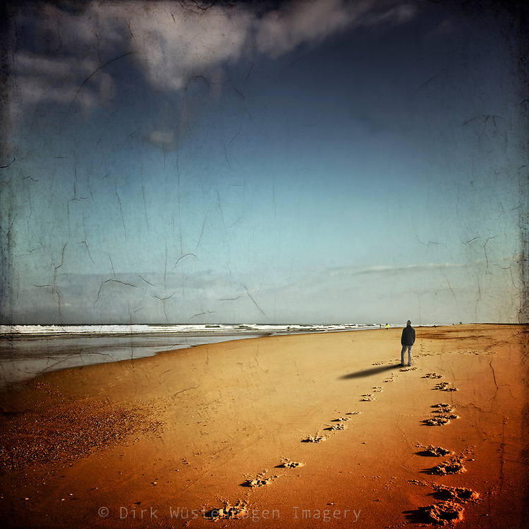 man walking on a beach - South France, Landes, Contis-Plage