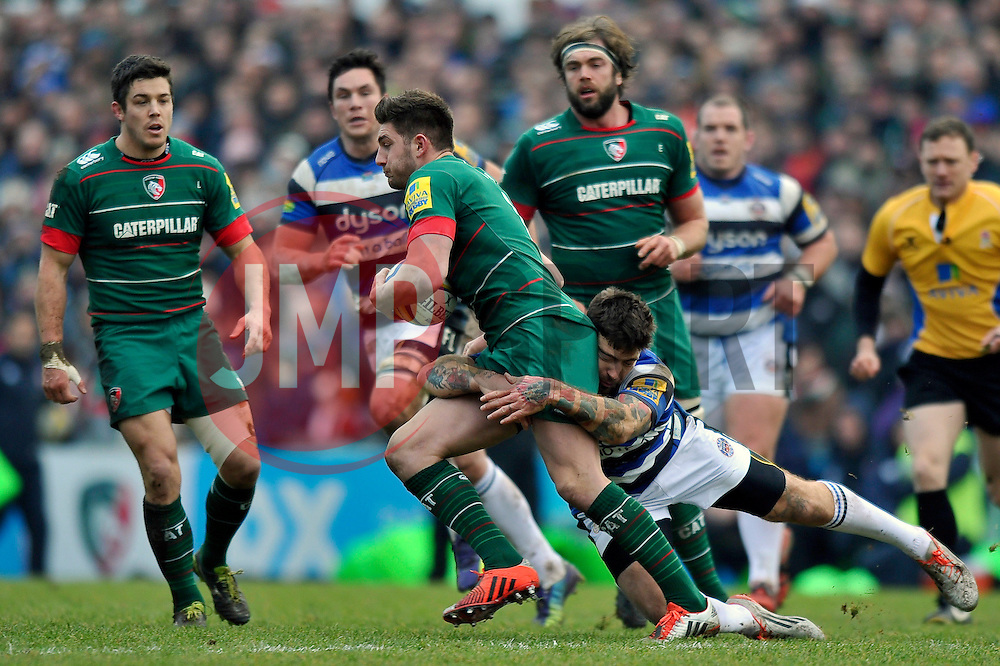 Owen Williams of Leicester Tigers is tackled by Matt Banahan of Bath Rugby - Photo mandatory by-line: Patrick Khachfe/JMP - Mobile: 07966 386802 04/01/2015 - SPORT - RUGBY UNION - Leicester - Welford Road - Leicester Tigers v Bath Rugby - Aviva Premiership