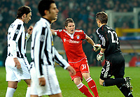 HansJorg Butt's celebration for his 1-0 leading goal scored for Bayern Munchen. <br />