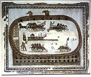Roman mosaic, 2nd century AD. Games in the arena - Chariot race.  Bardo Museum, Tunisia.