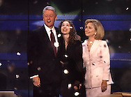 The Clinton family on the final night of the Democratic Convention in 1996..Photograph by Dennis Brack bb30