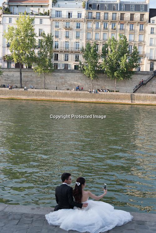 France. Paris. Quai de la Tournelle left bank, along the Seine river
