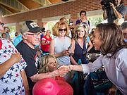 03 JULY 2019 - WEST DES MOINES, IOWA: US Senator KAMALA HARRIS, right, (D-CA)  greets people at the West Des Moines Democrats' annual 4th of July Picnic. Senator Harris attended the picnic to support her bid to be the Democratic nominee for the US presidency in 2020. Iowa hosts the first presidential selection event of the 2020 election cycle. The Iowa Caucuses are scheduled for Feb. 3, 2020.       PHOTO BY JACK KURTZ