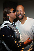8 May 2010- New York, NY- l to r: Queen Latifah and Common backstage at the Just Right Night with Common Produced by Jill Newman Productions and held at Highline Ballroom on May 8, 2010 in New York City.