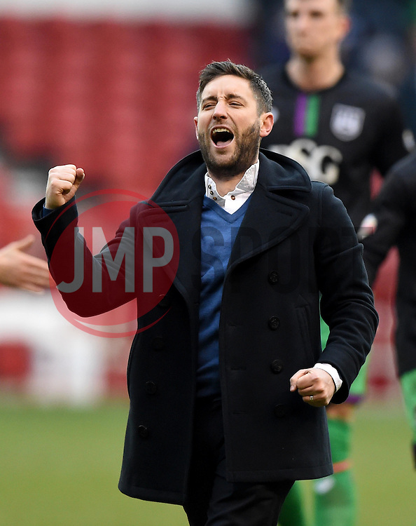 Bristol City head coach Lee Johnson celebrates towards the Bristol City fans after the game  - Mandatory byline: Joe Meredith/JMP - 27/02/2016 - FOOTBALL - The City Ground - Nottingham, England - Nottingham Forest v Bristol City - Sky Bet Championship