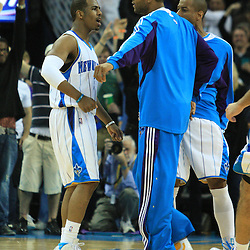 19 January 2009:  New Orleans Hornets guard Chris Paul (3) celebrates with teammate Antonio Daniels following a buzzer beating three pointer that gave the New Orleans Hornets a 103-100 win over the Indiana Pacers at the New Orleans Arena in New Orleans, LA. .