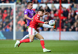 Joe Bryan of Bristol City Battles for the ball with Matty Cash of Nottingham Forest - Mandatory by-line: Alex James/JMP - 28/04/2018 - FOOTBALL - The City Ground - Nottingham, England - Nottingham Forest v Bristol City - Sky Bet Championship