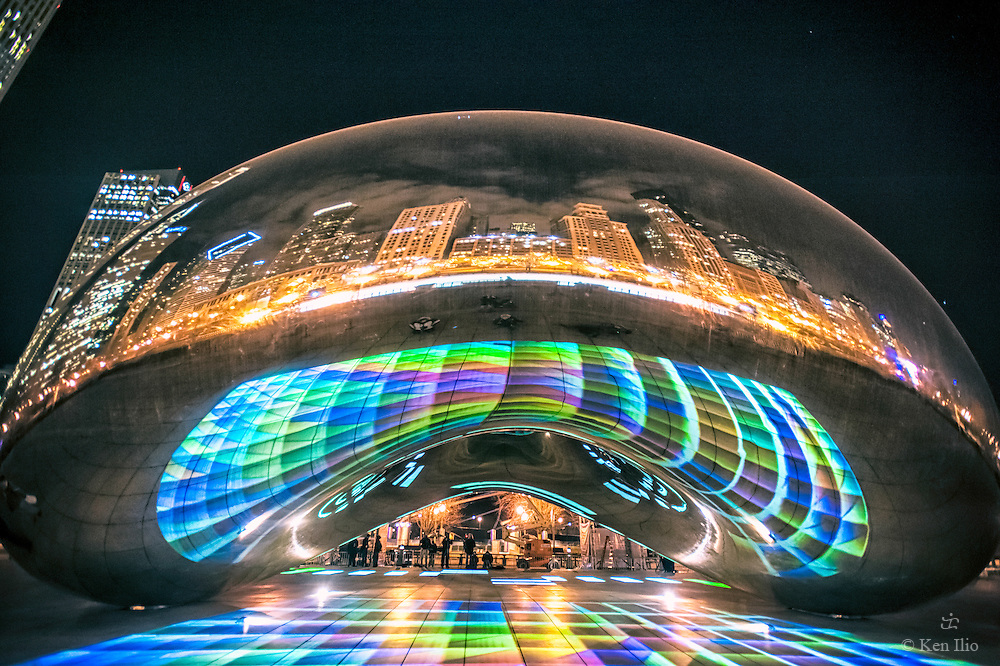 Anish Kapoor's Cloud Gate serves as the canvass for Luftwerk's Luminous Light video and music installation, Feb 2012.  Luftwerk is a Chicago-based art collective composed of Petra Bachmaier and Sean Gallero.  Music was provided by Third Coast Percussion.