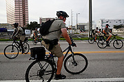 Law enforcment officers use bicycles to patrol protests during the 2012 Republican National Convention in Tampa, Fla.