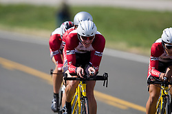 The University of Denver team of Grant Goerzen, Colin Don, Steve Forbes, Ben Quinn, and Taylor Shelden competes in the men's division 2 race.  The 2008 USA Cycling Collegiate National Championships Team Time Trial event was held near Wellington, CO on May 9, 2008.  Teams of 3 or 4 riders raced over a 20km out and back course that ran along a service road to Interstate 25.