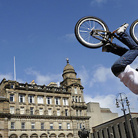 YouTube sensation Dan MacAskill puts on a display in George Square, Glasgow to launch Bike Week.