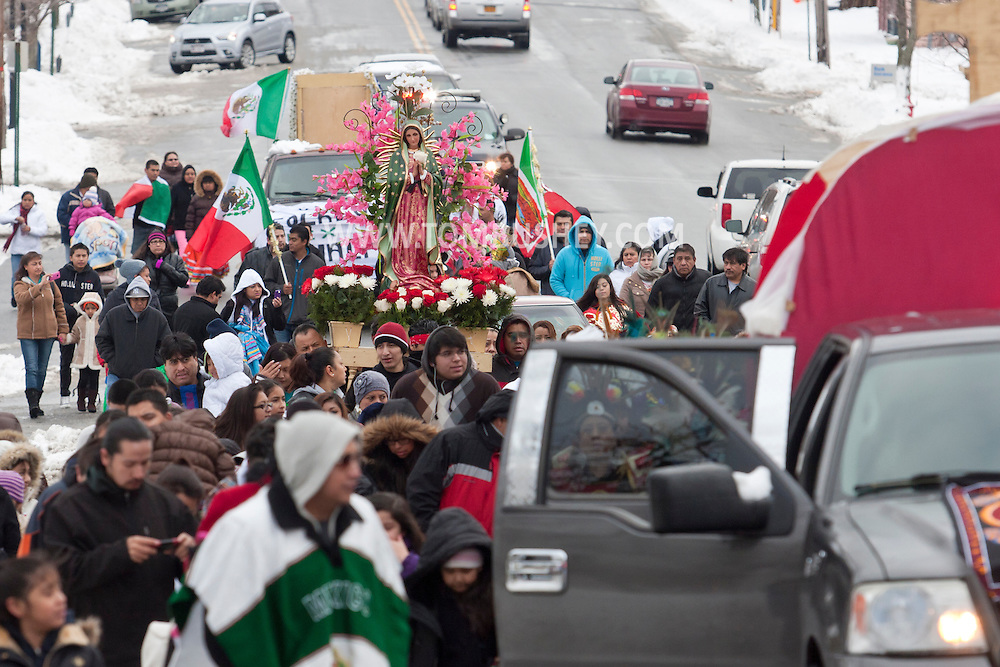 Goshen, New York - Members of St. John the Evangelist Catholic Church march in a procession celebrating the Festival of Our Lady of Guadalupe on Dec. 15, 2013.