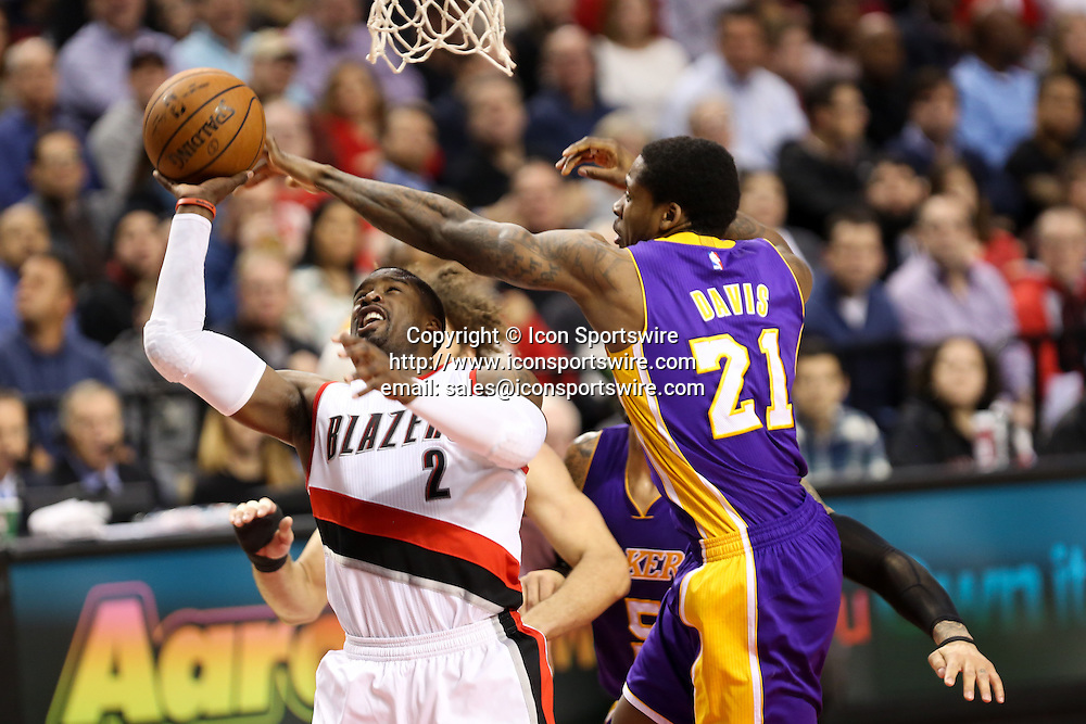 Feb. 11, 2015 - WESLEY MATTHEWS (2) is fouled driving to the hoop. The Portland Trail Blazers play the Los Angeles Lakers at the Moda Center on February 11, 2015