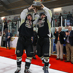 TRENTON, ON  - MAY 6,  2017: Canadian Junior Hockey League, Central Canadian Jr. &quot;A&quot; Championship. The Dudley Hewitt Cup Championship Game between Trenton Golden Hawks and Georgetown Raiders.  Lucas Brown #28 and Josh Allan #53 of the Trenton Golden Hawks lift the Dudley Hewitt Cup. <br /> (Photo by Alex D'Addese / OJHL Images)