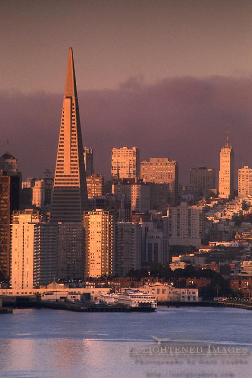 Morning light along the Embarcadero, as seen from Treasure Island, San Francisco, California