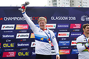 Podium BMX Finals men, Kyle Evans (Great Britain)gold medal during the Cycling European Championships Glasgow 2018, at Glasgow BMX Centre, in Glasgow, Great Britain, Day 9, on August 10, 2018 - Photo luca Bettini / BettiniPhoto / ProSportsImages / DPPI<br /> - Restriction / Netherlands out, Belgium out, Spain out, Italy out -