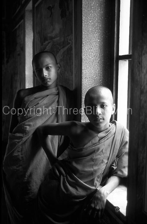 Novice monks at Buddhist temple in Mirissa.