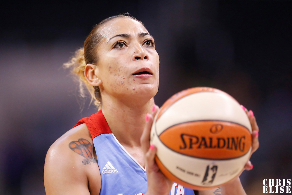08 August 2014: Atlanta Dream center Erika de Souza (14) is seen at the free throw line during the Los Angeles Sparks 80-77 overtime win over the Atlanta Dream, at the Staples Center, Los Angeles, California, USA.