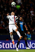 Thiago Silva of PSG in action against David Okereke of Club Brugge during the UEFA Champions League, Group A football match between Paris Saint-Germain and Club Brugge on November 6, 2019 at Parc des Princes stadium in Paris, France - Photo Mehdi Taamallah / ProSportsImages / DPPI