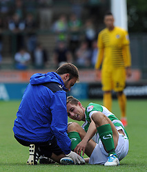 Wes Fogden of Yeovil Town receives medical attention - Photo mandatory by-line: Harry Trump/JMP - Mobile: 07966 386802 - 15/08/15 - SPORT - FOOTBALL - Sky Bet League Two - Yeovil Town v Bristol Rovers - Huish Park, Yeovil, England.