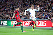 England forward, Jamie Vardy (11) battling for ball with Portugal midfielder, Vieirinha (11) during the Friendly International match between England and Portugal at Wembley Stadium, London, England on 2 June 2016. Photo by Matthew Redman.