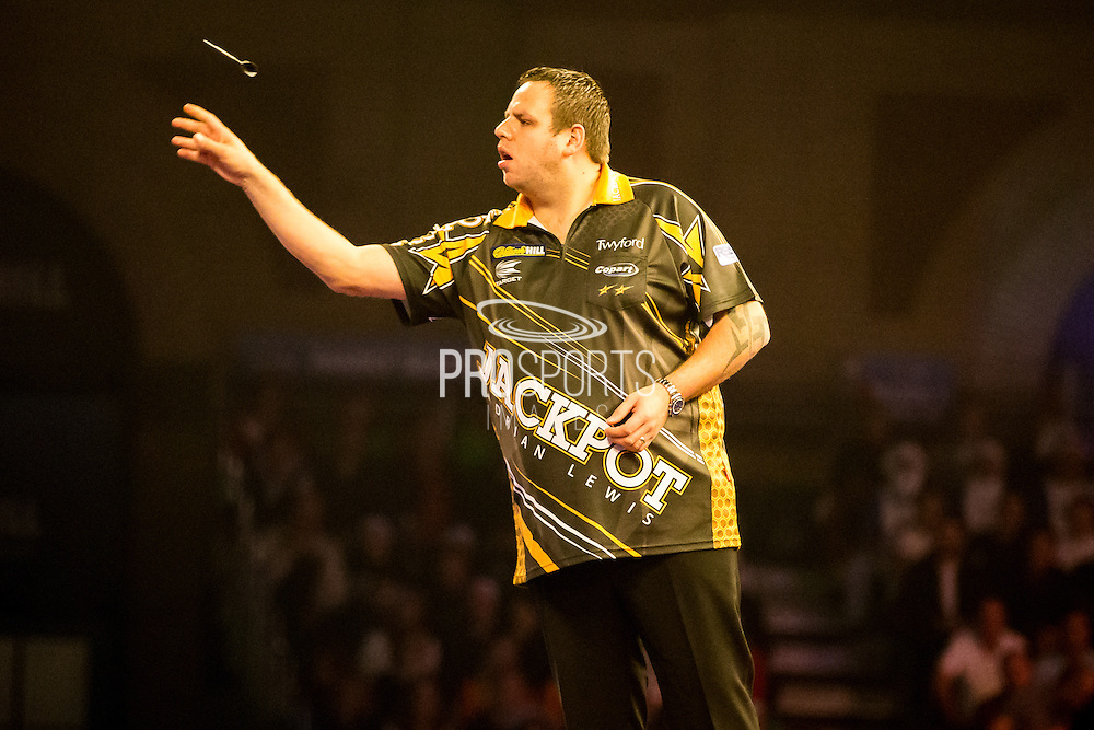 Adrian Lewis during the World Darts Championship at Alexandra Palace, London, United Kingdom on 23 December 2015. Photo by Shane Healey.