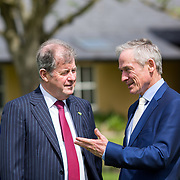 05.05. 2017.                                                 <br /> JP McManus today announced a further &euro;32 million investment in Third Level Education Scholarships for eligible students throughout Ireland, North and South. He was joined by the Minister for Education &amp; Skills, Richard Bruton T.D. and former All Ireland Scholarship recipients to make the announcement in Adare, Co Limerick. <br /> <br /> Pictured at the event in the Dunraven Arms were, JP McManus and Minister for Education &amp; Skills, Richard Bruton T.D.. Picture: Alan Place.