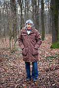 Czech writer Ivan Klima in a forest close to his house at quater Hodkovicky in Prague 4.