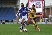 Gboly Ariyibi (28) of Chesterfield FC and \f45 fight for the ball during the Sky Bet League 1 match between Chesterfield and Fleetwood Town at the b2net stadium, Chesterfield, England on 26 March 2016. Photo by Ian Lyall.
