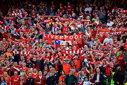 """DUBLIN, REPUBLIC OF IRELAND - Saturday, August 5, 2017: Liverpool supporters sing """"You'll Never Walk Alone"""" before a preseason friendly match between Athletic Club Bilbao and Liverpool at the Aviva Stadium. (Pic by David Rawcliffe/Propaganda)"""