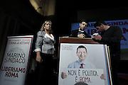 Preparativi per un comizio del candidato a sindaco di Roma Ignazio Marino <br /> Roma - Teatro Capranica 28 maggio 2013. Matteo Ciambelli / OneShot