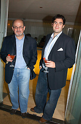 Left to right, Writer SALMAN RUSHDIE and his son ZAFAR RUSHDIE at a party to celebrate the launch of Amy Sacco's book 'Cocktails' held at Sanderson, 50 Berners Street, London W1 on 10th July 2006.<br /><br />NON EXCLUSIVE - WORLD RIGHTS