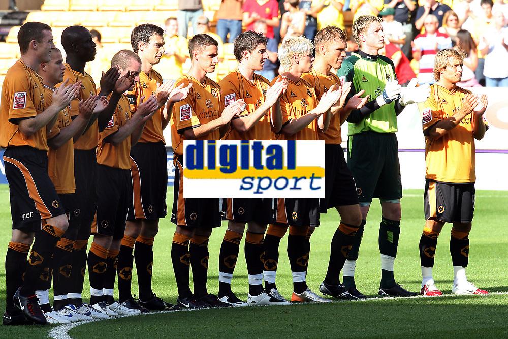 Photo: Paul Greenwood. <br />Wolverhampton Wanderers v Watford. Coca Cola Championship. 11/08/2007. <br />The Wolves team applaud the memory of Derek Dougan before kick off