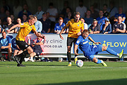 AFC Wimbledon striker Joe Pigott (39) getting fouled during the EFL Sky Bet League 1 match between AFC Wimbledon and Bristol Rovers at the Cherry Red Records Stadium, Kingston, England on 21 September 2019.
