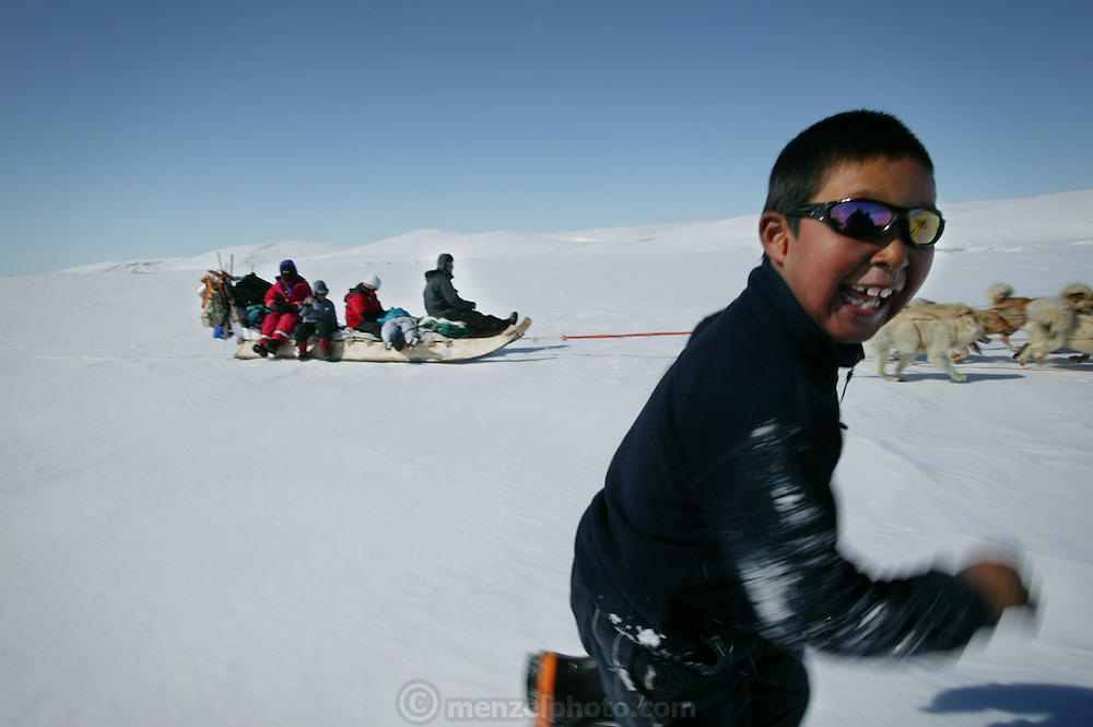 (MODEL RELEASED IMAGE). To break the monotony of dogsled travel, 9-year-old Martin Madsen runs alongside. When the snow crust is hard enough to ensure that the dogs won't break through, they can pull the half-ton weight of the sled for hours on end. On level ground, the animals pull at about the pace of a running human, but the sleds can whip down hills so fast that drivers must step on the brake at the rear of the sled to avoid running over their dogs. Martin's sister Belissa sleeps through part of the journey behind her father on his sled. Hungry Planet: What the World Eats (p. 148).