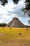 El Castillo, or the Castle, is the center temple and centerpiece of the ancient Mayan ruins at Chichen Itza on the Yucatan Peninsula in Mexico.