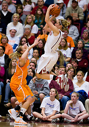 December 19, 2009; Stanford, CA, USA;  Stanford Cardinal guard JJ Hones (10) shoots over Tennessee Lady Volunteers forward Alicia Manning (15) during the second half at Maples Pavilion.  Stanford defeated Tennessee 67-52.