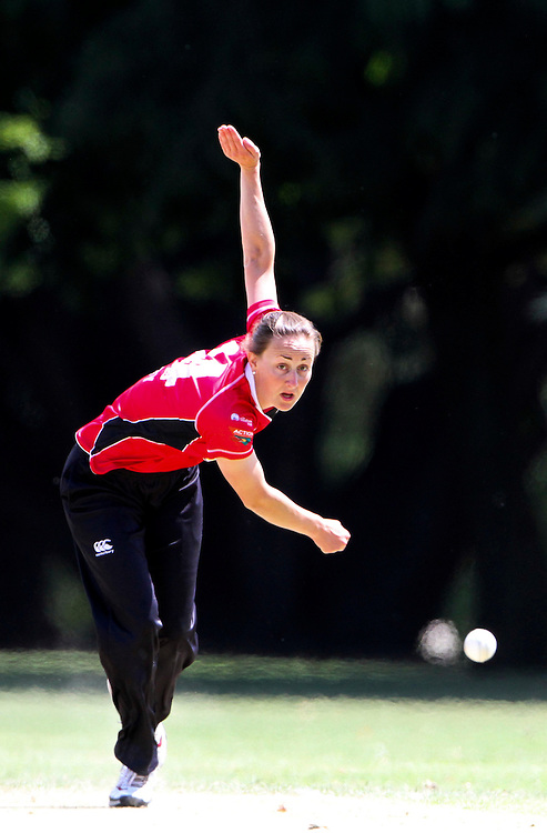 Canterbury's Rachel Candy bowls agianst Central Districts in thier Action Cricket Cup match being played at Cornwall Park, Hastings, New Zeland, Saturday, December 12, 2011 Credit: SNPA / John Cowpland