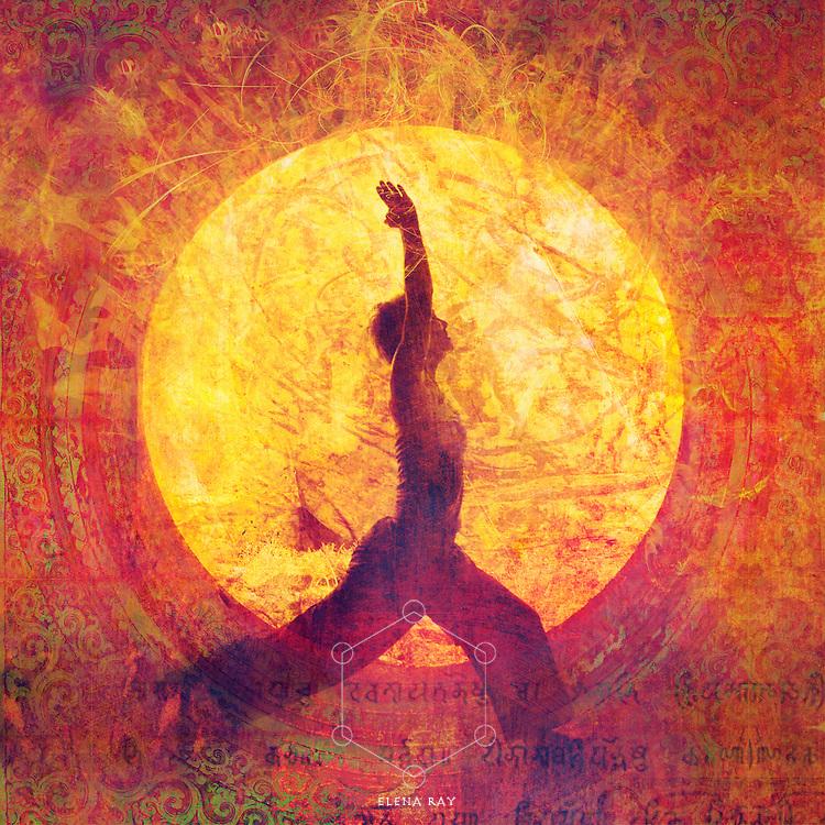 Woman in yoga warrior 1 pose in a circular light.