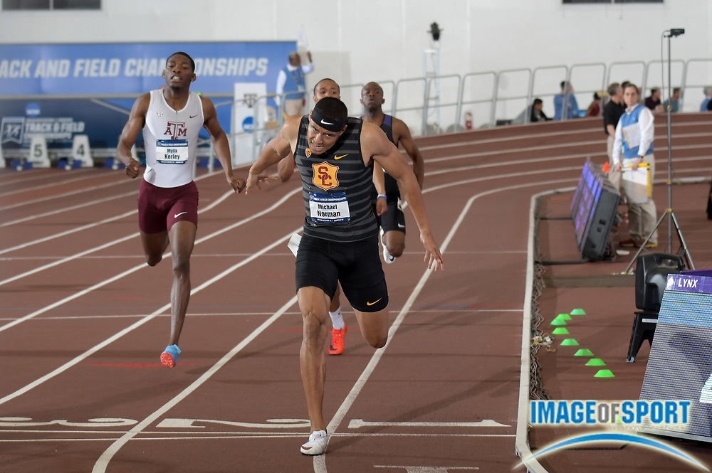 Mar 10, 2018; College Station, TX, USA; Michael Norman of Southern California wins the 400m in a world record 44.52 during the NCAA Indoor Track and Field Championships at the McFerrin Athletic Center.