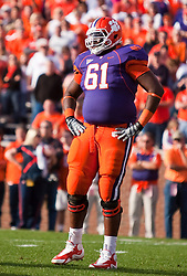 November 21, 2009; Clemson, SC, USA;  Clemson Tigers tackle Chris Hairston (61) during the first quarter against the Virginia Cavaliers at Memorial Stadium.  Clemson defeated Virginia 34-21.