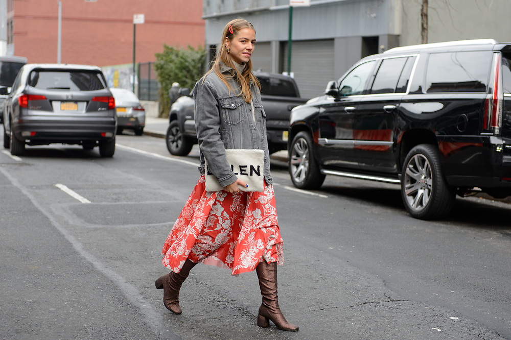 Floral Skirt and Denim Jacket, Outside Self Portrait FW2018